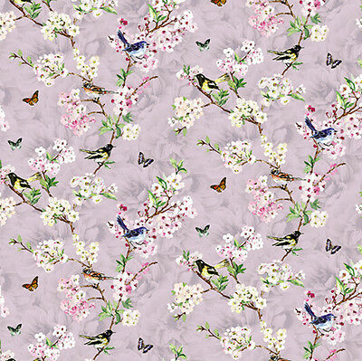 3 sheets of Dolls House Wallpaper 1/12th scale Lilac Birds Quality Paper #329