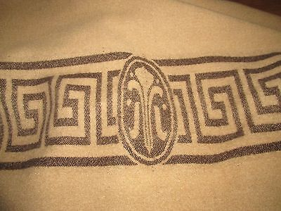 "VINTAGE  JAEGER? SHABBY CHIC WOOL BLANKET 72 x 96""~CAMEL ~GREEK KEY DESIGN"