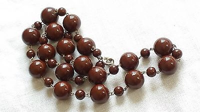Czech Vintage Chocolate Brown Wired Glass Bead Necklace