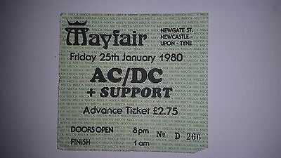 AC/DC BON SCOTT s 1980 2ND TO LAST SHOW TICKET MAYFAIR NEWCASTLE HIGHWAY TO HELL