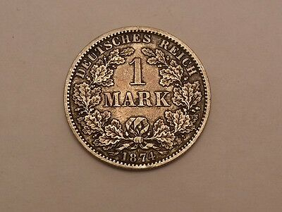 1874 -A GERMANY 1 MARK SILVER COIN nice details XF TONED