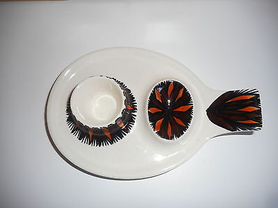 Jersey Pottery Orange Black And White Double Egg Cup Plate 1970's Signed