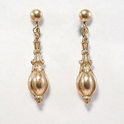 Antique Dangling Gold Filled Repousse Hollow Earrings