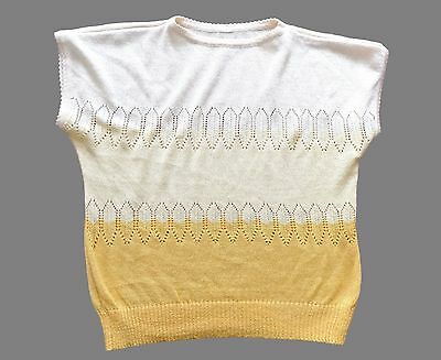 Women's Vintage 80's Capped Sleeve Knit Top Retro Boho 14 - 16