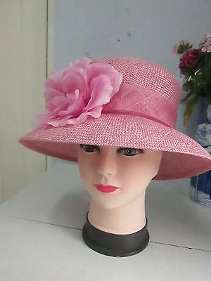 Accessorize - Pink straw hat with flower, summer - wedding- formal - races