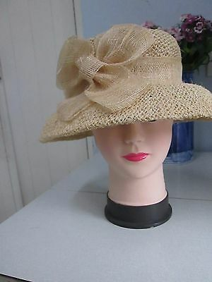 Accessorize Beige straw hat with bow - summer, wedding, races, formal