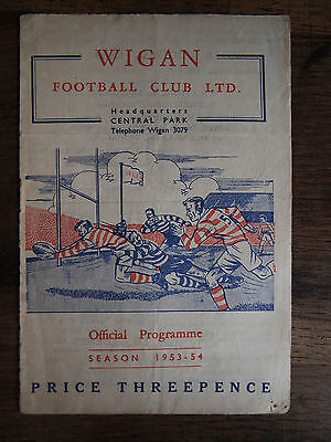 1954 Wigan versus Oldham Northern Rugby Football League Programme