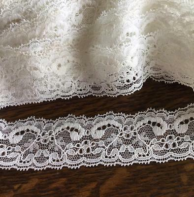 """Lot 18 3/4 Yards Of Vintage Ecru Lace 1 1/4"""" Wide Great For Dolls Crafts"""