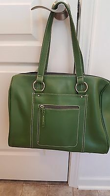 Franklin Covey Women's Large Leather Business Laptop Bag Handbag Organizer Green