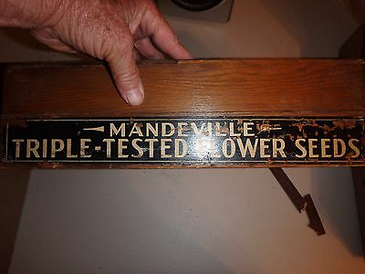 vintage MANDEVILLE  triple-tested flower seeds oak dovetail seed box 8 by 15