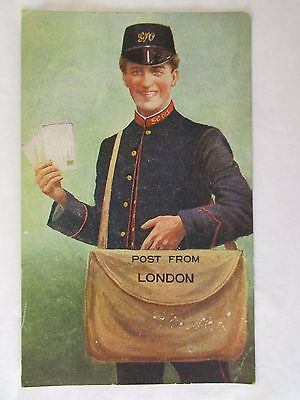 old novelty postcard   post from london