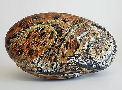 Hand Painted Stone LEOPARD Cat SIGNED ROCK LIFE by DJ Figurine Paperweight