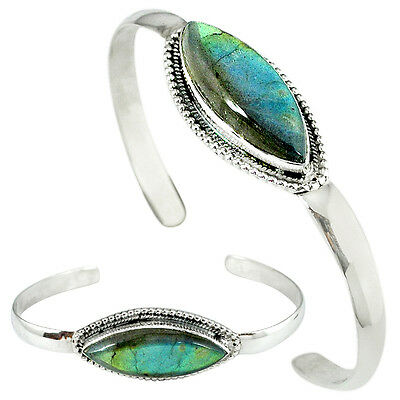 925 Sterling Silver Natural Blue Labradorite Adjustable Bangle Jewelry K28294