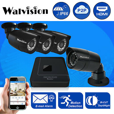 Walvision CCTV 4CH 720P HD DVR Outdoor Home Security IR Camera System Kit NO HDD