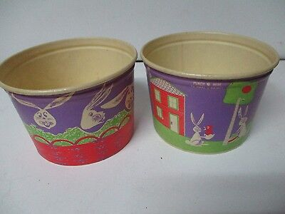 2 Vintage Waxed Cardboard Easter Round Containers