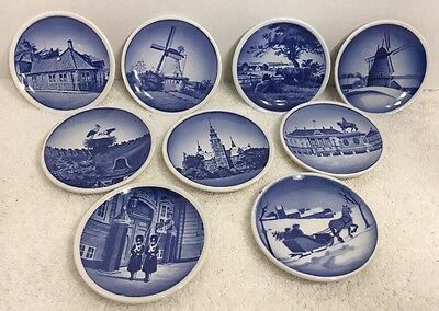 Lot Of 9 Vintage Denmark Miniature Collector Plates Blue 3 1/4""