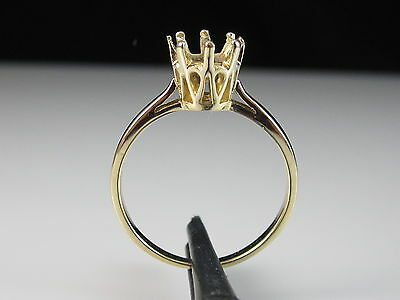 14K Vintage Solitaire Setting Mount Engagement Ring Yellow Gold Size 5.75
