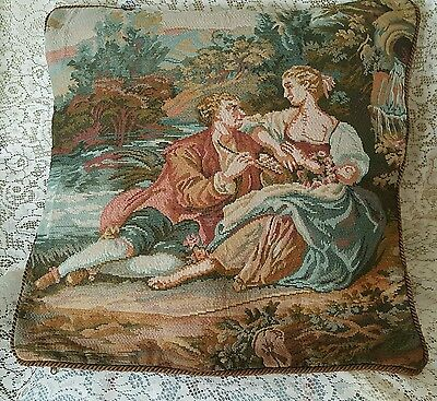 "Large 20""vintage  Tapestry Velvet Cushion Cover French Romantic Pictorial"