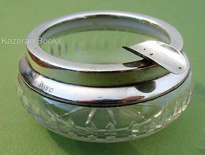 Vintage Solid Sterling Silver & Cut Glass Table Ash Tray Ashtray 1927 Art Deco