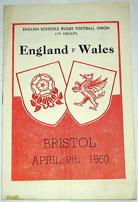 England Wales Schools Rugby Union Programme 1960