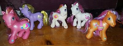 Lot of MY LITTLE PONY G3 PONIES FIGURES - BEACH BALL ORANGE STRAWBERRIES FLOWERS
