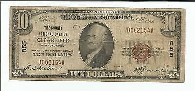 1929 $10 Clearfield National Bank Currency