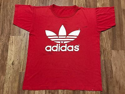 Vtg 80s adidas Trefoil Double Side Print Red Distressed T-Shirt Large