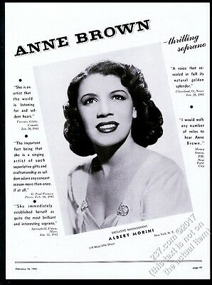 1943 Anne Brown photo singing recital tour booking print ad