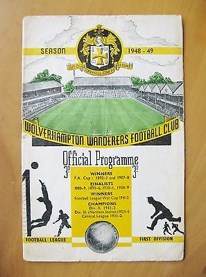 WOLVES v MANCHESTER UNITED 1948/1949 *Good Condition Football Programme*