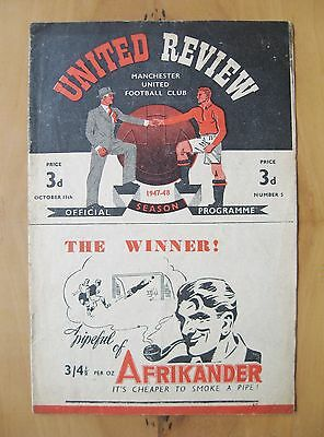 MANCHESTER UNITED v GRIMSBY TOWN 1947/1948 *VG Condition Football Programme*