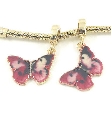 Fashion 2pcs Butterfly Gold European Charm Spacer Beads Fit Necklace Bracelet #