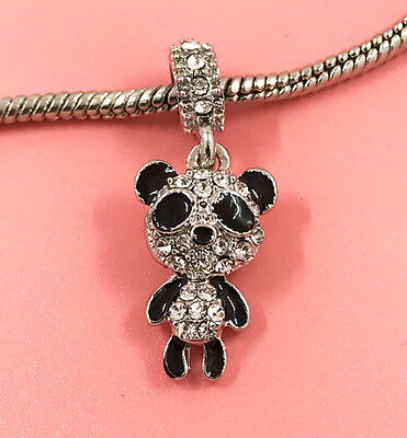 1pcs Silver Panda European Charm Crystal Spacer Beads Fit Necklace Bracelet NEW