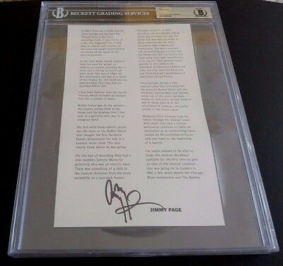 Jimmy Page Led Zeppelin Signed Autographed HUGE Cut Beckett Certified & Slabbed