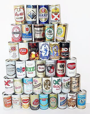 Large Lot of 39 Vintage Pull Tab Beer Lager Cans Common & Uncommon 1980s/earlier