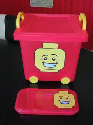 Lego Red Wheeled Stacking Basket Storage Bin With Lid + Smaller Red Container