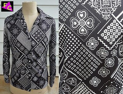 60s 70s POLYESTER BLACK WHITE MOD FUNK shirt BLOUSE 38 L PSYCH BEATNICK DISCO