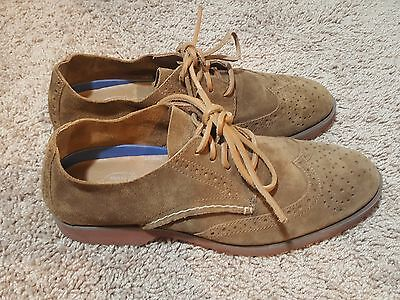 Sperry Top-Sider Men's 9 Wingtip Suede Oxford Leather Boat Shoe Brown