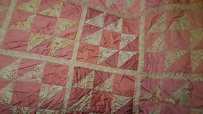 Vintage Handmade Quilt Pink And White Needs Tlc But Beautiful 81X62