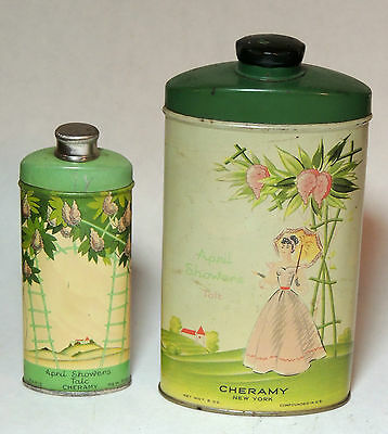 2 vintage CHERAMY April Showers TALC TIN Art Deco Vanity Talcum Powder Bottle