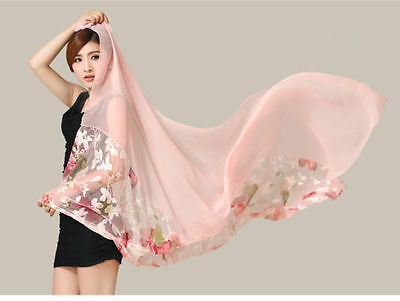 """33x68"""" long Pure 100% Silk Printed Stole Scarf Scarves wrap pink Tone"""