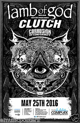 Lamb Of God / Clutch /corrosion Of Conformity 2016 Salt Lake Concert Tour Poster