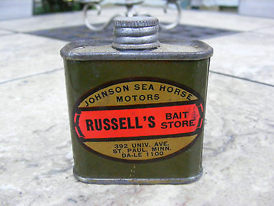 vintage advertising metal tin russell's bait store 2 oz. tin johnson sea horse