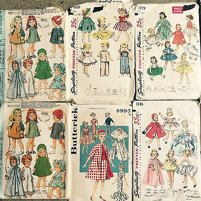 10 VINTAGE  1950's 60's DOLL And BARBIE SEWING DRESS OUTFIT PATTERNS LOT