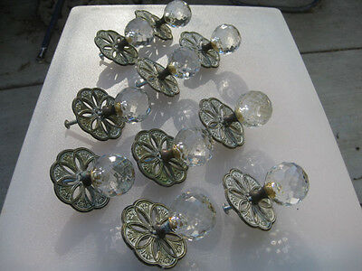 10 Antique Vintage Faceted Crystal Glass Round Drawer Knobs Pulls Brass Plates