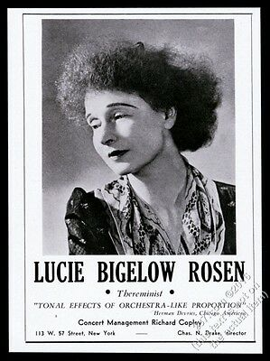 1943 Lucie Bigelow Rosen photo Theremin recital tour booking trade print ad
