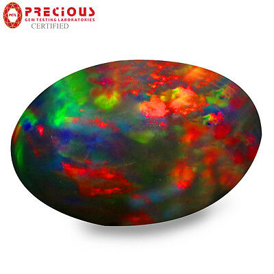 1.93 ct PGTL Certified  Oval Cabochon (11 x 7 mm) Flashing Multicolor Black Opal