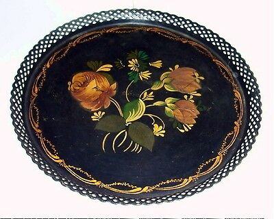 """Vtg Early RETICULATED 10"""" Round Hand Painted TOLEWARE Floral Tole TRAY~LACE EDGE"""