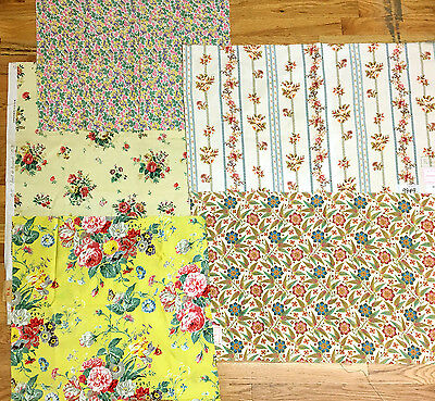 (5) 19th and 20th Century French Bundled Floral Printed Fabrics (2059)