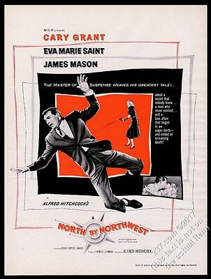1959 North By Northwest movie release Alfred Hitchcock Cary Grant print ad
