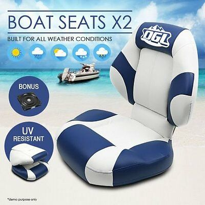 NEW 2x OGL Marine Folding & Swivel Base Big Boat Seats - White Blue, UV Treated